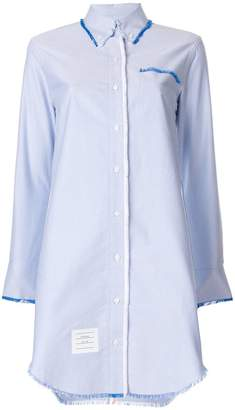 Thom Browne Center-back Stripe Frayed Oxford Shirtdress