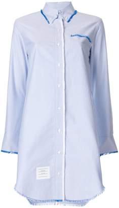 Thom Browne ロングスリーブシャツドレス R/W/Bストライプ フライ オックスフォード