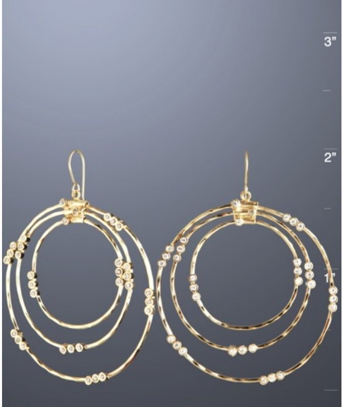 Isharya gold hammered '3 by 3 Allure' hoop earrings