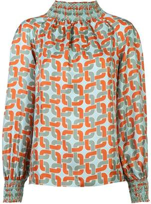 Le Sarte Pettegole geometric long-sleeve blouse