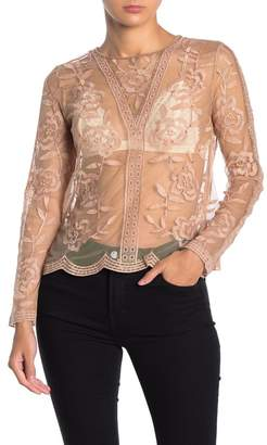 Honey Punch Long Sleeve Sequin Detail Lace Top