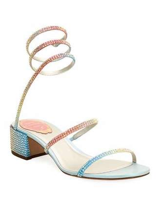 Rene Caovilla Rainbow Ombre Crystal Snake 40mm Sandals
