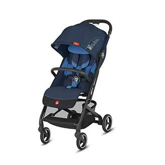 GB Gold Qbit+ All-City Compact Pushchair, Lie-Flat Reclining Seat, from Birth to 17 kg (Approx. 4 Years), Black Frame, Night Blue