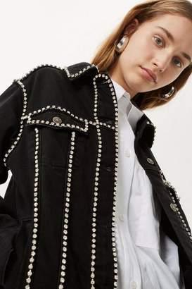 Topshop Tall Crystal Seam Denim Jacket