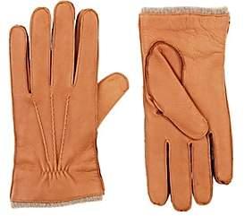 Barneys New York Men's Cashmere-Lined Deerskin Gloves-Beige, Tan