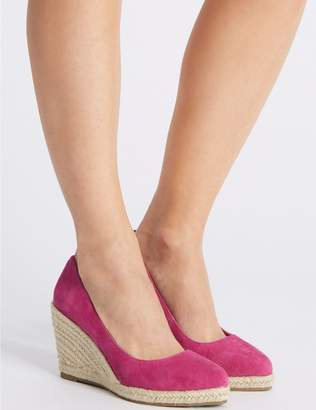 Marks and Spencer Suede Almond Toe Wedge Heel Espadrilles