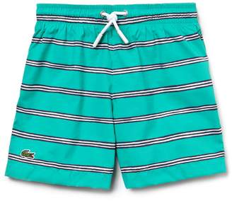 Lacoste Boys' Striped Canvas Swimming Trunks