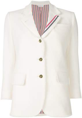 Thom Browne Frayed Wide Lapel Sport Coat