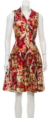 Oscar de la Renta Pleated Silk-Blend Dress