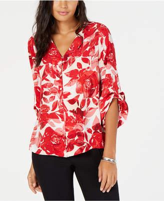 Alfani Printed Gathered-Sleeve Blouse, Created for Macy's