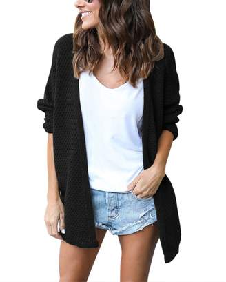 Lrud Women's Loose Knited Windy Morning Waffle Cardigan Long Sleeve Fashion Casual Open Front Sweater Coat