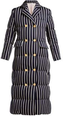 Thom Browne Striped Cotton Blend Padded Coat - Womens - Navy White