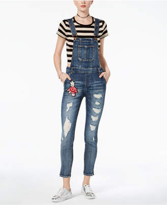 Dollhouse Juniors' Ripped Floral-Patch Denim Overalls