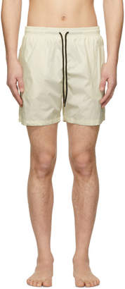 Off-White Solid and Striped Classic Swim Shorts