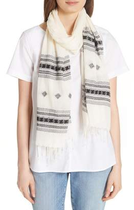 Eileen Fisher Embroidered Organic Cotton Scarf