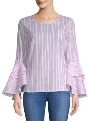 Striped Flare-Sleeve Cotton Blouse