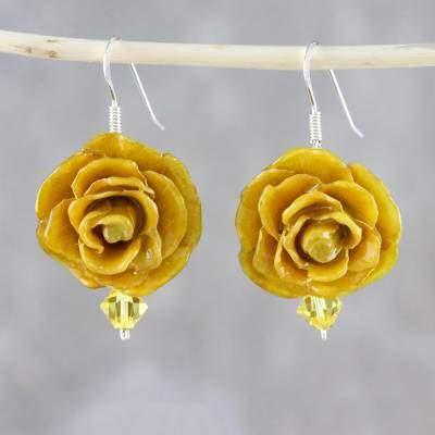 Captured Beauty in Yellow Resin Dipped Yellow Real Miniature Rose Dangle Earrings