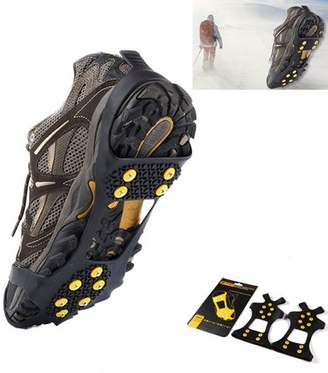 JOVIVI WEANAS Ice and Snow Traction Cleats Universal Slip-on Stretch fit Snow Ice Spikes Crampons (Large)