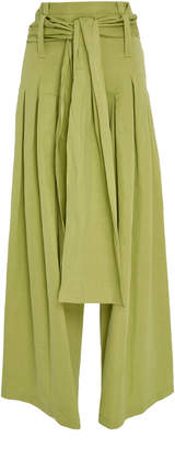 Rosie Assoulin Pleated Cotton-Blend Pants with Sash Belt