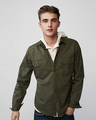 Express Slim Herringbone Military Overshirt
