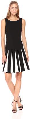 Tommy Hilfiger Women's Godet bi-Stretch Sleeveless fit and Flare Dress, Black/Ivory