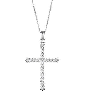 FINE JEWELRY Religious Jewelry Womens 1/2 CT. T.W. Genuine White Diamond 10K White Gold Cross Pendant Necklace