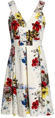 Erdem Pleated Floral-Print Cotton-Blend Mini Dress