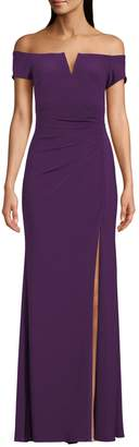 Xscape Evenings Gathered Off-The-Shoulder Gown