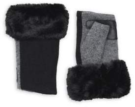 Echo Wool & Cashmere Faux-Fur Fingerless Gloves
