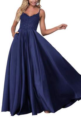 ed726c440d8 Staypretty Satin Prom Evening Gowns Long A-line Applique Beaded Satin  Women s Formal Prom Dresses