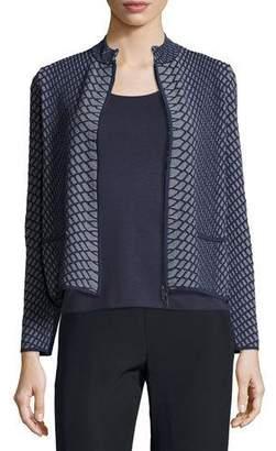 Armani Collezioni Reptile-Knit Zip-Front Jacket, Gray/Multi