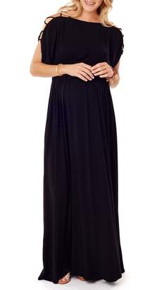 Ingrid & Isabel R) Smocked Empire Waist Maternity Maxi Dress