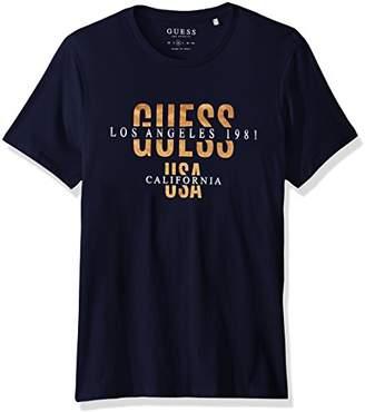 GUESS Men's Short Sleeve Basic Cali Logo Crew T-Shirt