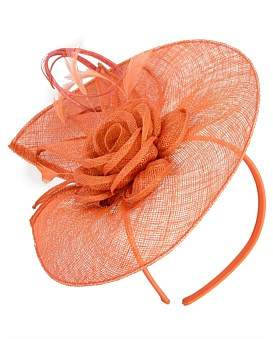 Max Alexander Orange Sinamay Fascinator With Flower And Feathers