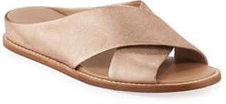 Vince Fairley Metallic Leather Wedge Slide Sandals