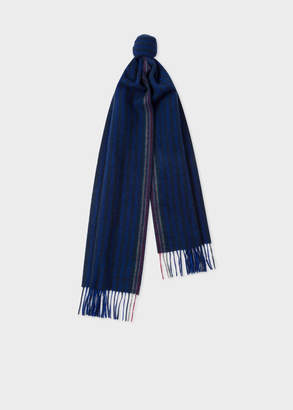 Paul Smith Men's Navy Two-Tone Stripe Lambswool And Cashmere Scarf