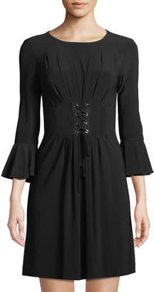 Tahari ASL 3/4 Tulip-Sleeve Lace-Up Front Dress