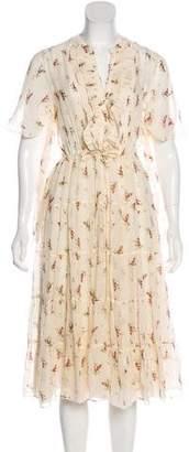 Masscob Floral Silk Midi Dress