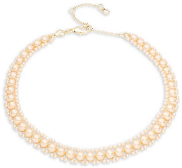 Carolee Carolee Pink Champagne Faux Pearl Choker Necklace