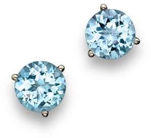 Bloomingdale's Aquamarine Round Earrings in 14K White Gold - 100% Exclusive