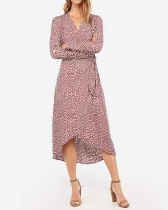 Express Printed Wrap Tie Front Midi Dress