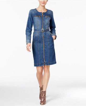 INC International Concepts Belted Denim Shirtdress, Only at Macy's $119.50 thestylecure.com