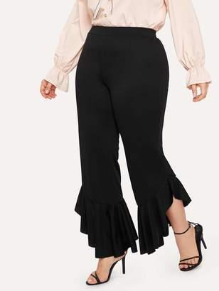 Shein Plus Elastic Waist Contrast Ruffle Hem Pants