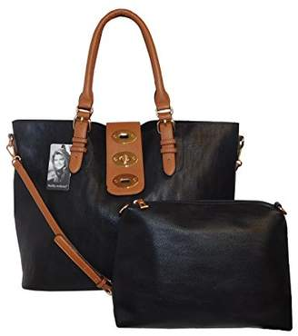 Kathy Ireland Super Soft Premium Vegan leather Tote Handbag with Toggle Strap Closure and Mini Bag -2 pc set