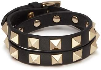 Valentino 'Rockstud' double wrap leather bracelet