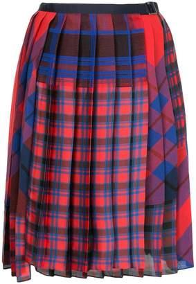 Sacai pleated plaid skirt