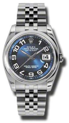 Rolex Datejust Steel Blue with Black Ring Arabic Dial 36mm Watch