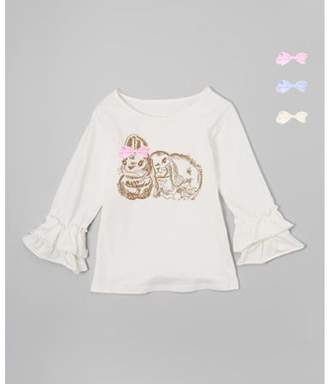 Mi Amore Gigi Cream Ruffle Bunny Graphic Interchangeable Bow Top