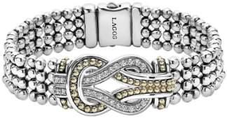 Lagos 'Newport' Diamond Knot Flat Caviar Bracelet