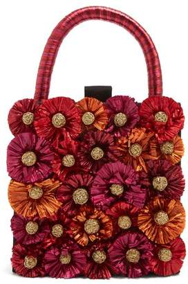 Sanayi 313 - Flora Embellished Twill Box Clutch - Womens - Red Multi